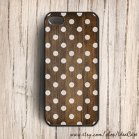 polka dot on wood iphone 5 case , iphone 4 4s case ,iphone case , plastic iphone case
