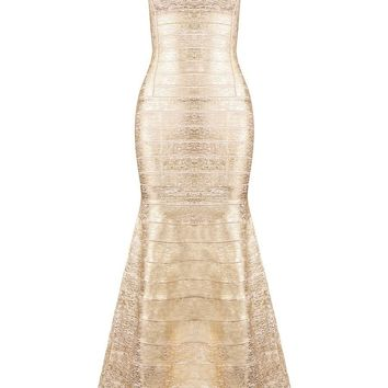 Honey Couture CELIA Gold Foil Mermaid Formal Gown Dress