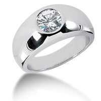 Round Brilliant Diamond Mens Ring in 14k white gold (0.5cttw, F-G Color, SI2 Clarity)