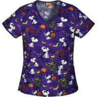 Halloween Print Scrub Top with Snoopy For Women