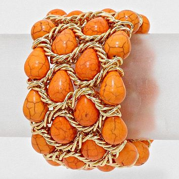 "orange gold cracked gemstone stretch bracelet bangle 2"" wide"
