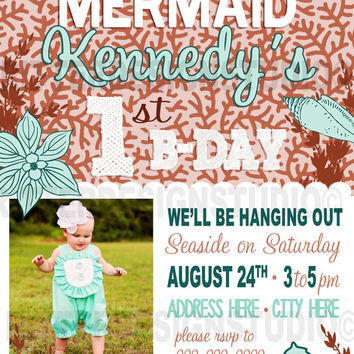 Mermaid Under The Sea Birthday Invitation - Printable