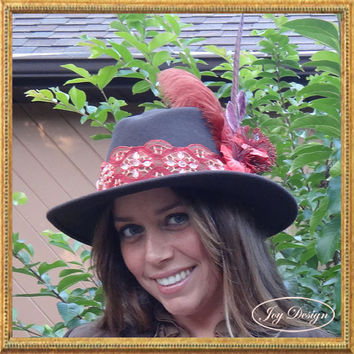 Millinery Handmade Embellished Vintage (c 1980) Woman's Stetson Style Dark Brown Hat 100 percent Wool Felt with Feathers and Vintage Flowers