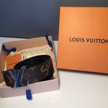 Rare Louis Vuitton x Supreme collab Belt sz 36 90cm Brown & Silver NEW