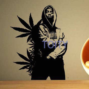 2PAC Wall Sticker Tupac Vinyl Decal Big Rap Hip Hop Star Poster Room Decor Art Mural H74cm x W57cm