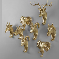 Gold Animal Heads Decorative Wall Hooks