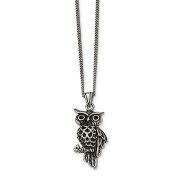 Stainless Steel Polished and Antiqued Owl with Black Crystals Necklace