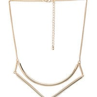 FOREVER 21 Curved Cutout Necklace Gold One