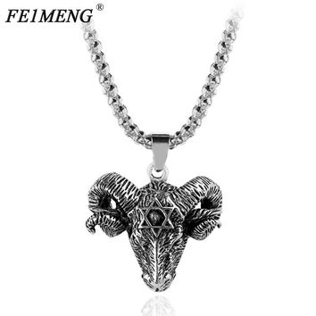 Vintage Goat Sheep Head Necklace Devil Pan God Silver Color Necklaces Sheep Punk Pendants For Women Men Fashion Collar Jewelry