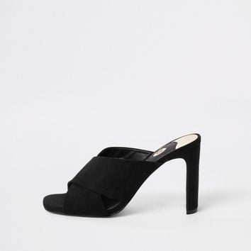Black cross strap slim heel mule sandals - Sandals - Shoes & Boots - women