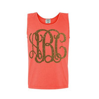 Monogram Comfort Colors Tank Top - UNISEX - Any Color - Glitter - Any Color - Great Gift - Beach - Workout - Summer