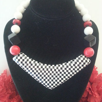 Vintage Checkered Necklace, Statement Necklace, Black White & Red Jewelry, Retro Rockabilly Accessories, 1970's 1980's Collectible