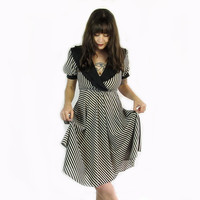 Vintage Black and White Striped Dress
