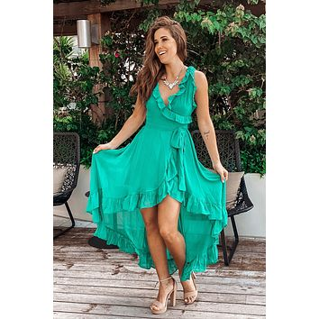 Emerald High Low Dress with Ruffles