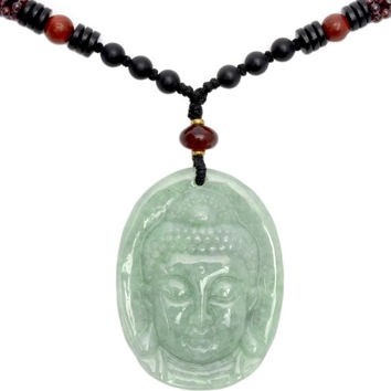 Gautama Mercy Lotus Buddha Head Jade Amulet Necklace- Fortune Buddhist Jewelry