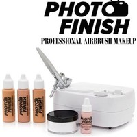 Photo Finish Professional Airbrush Cosmetic Makeup System Kit / Chose Shades- Light Medium or Tan 3pc Foundation Set with Blush and Silica Finishing Powder- Chose Matte or Luminous Finish Kit (Medium- Matte Finish)
