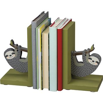Sloth Wooden Book Ends in Grey and Mossy Green