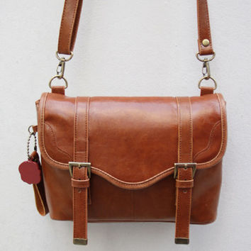 Leather-Canvas DSLR/SLR Camera Bag in Retro Brown