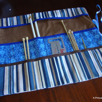 "Knitting Needle Organizer (aka ""Roll-Up)--Blue Floral 16""x18.5"""