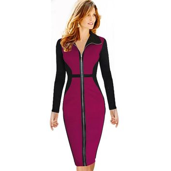 Women's Elegant Design Long Sleeve Casual OL Work Business Dress Front Zipper Slim Fitted Pencil Bodycon Dresses Plus Size EB09