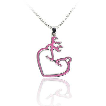 Pink Buck & Doe  Kissing Heart Necklace