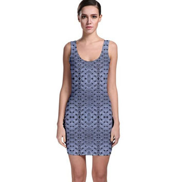 Futuristic Grid Pattern Design Print in Blue Tones Bodycon Dress