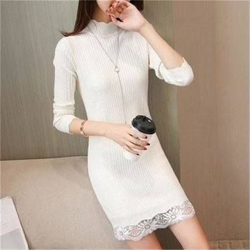 2018 Women Knit Lace Temperament  Formal Turtleneck Solid Sexy Winter Pull Ladies Cotton Sweaters Long Pullovers dress PZ680