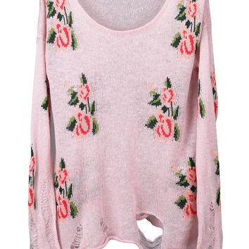 ROMWE | Knitted Floral Print Jumper, The Latest Street Fashion