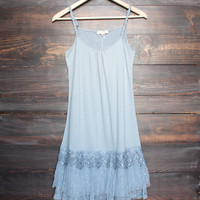 whimsical fairytale lace dress slip - dusty blue