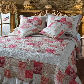 Floral Carnations Red & White 100% Cotton Reversible Patchwork Quilted Coverlet Bedspread Set - King - 5 Pieces (DXJ103197)