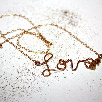 amora - 14k gold love necklace by lilla stjarna - gifts under 75 - personalized 14k gold - 14k Gold Cursive Script - Simple and Romantic