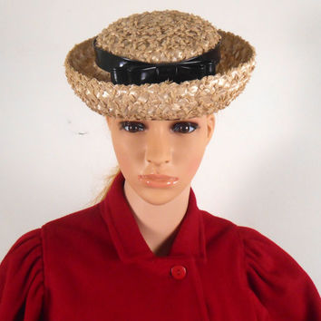 Light Straw Women's Hat -  Bow On Top - 7 x 7 x 3 1/2 - Union Made - Free US Shipping