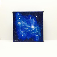 Space Painting, Galaxy Painting, Cosmos Art, Square Canvas, Acrylic Painting, 3D Canvas, Starry Sky, Blue Nebula, Navy Blue Painting, Stars