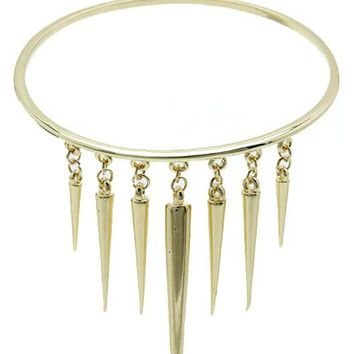 Gold Metal Spike Fringe Arm Band Bracelet