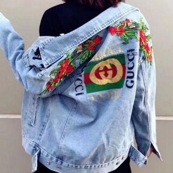Gucci Trending Women Men Personality Bee Tiger Embroidery Distressed Denim Cardigan Jacket Coat I