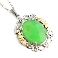 L.S.P. Co. Green Agate Pendant Sterling Silver Necklace