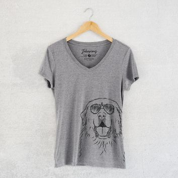 Zeus the Great Pyrenees - Women's Relaxed Fit V-neck Shirt