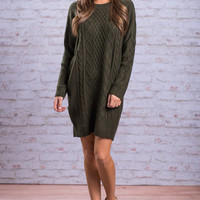 Warm Embrace Sweater Dress, Hunter Green