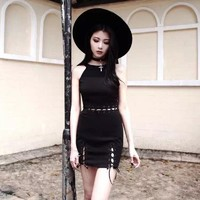 Gothic Girl Dress Halter Strapless Hollow Out Fake Two Black Women Dress Street Goth Dresses
