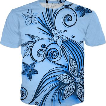 Light Blue flowers, floral ornament, cartoon design, all-over-print tee shirt