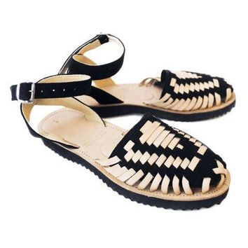 Women's Black Strapped Woven Leather Huarache Sandals
