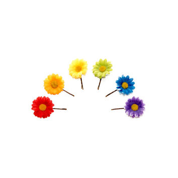 Rainbow Flower Hair Pin Set, Flower Bobby Pin, Daisy Hair Pin, Daisy Bobby Pin, Festival Pins, Pride Accessories, Festival Wear, Rave Wear