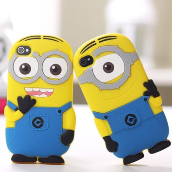 3D Cute Cartoon Soft Rubber Silicon Despicable Me Yellow Minion Cover Case for iPhone 4 4S 5 5S SE 6 6S Plus case