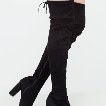Luck Of The Drawstring Thigh-High Boots GoJane.com