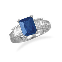 Rhodium Plated Dark Blue Cubic Zirconia Rectangle with Baguette Sides Ring
