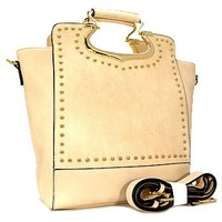 Classy Top Handle Studded Fashion Tote Purse w/ Shoulder Strap Cream