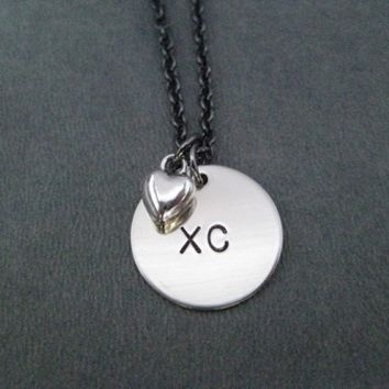 LOVE XC Round Charm Necklace with Pewter Heart - Nickel pendant priced with Gunmetal Chain