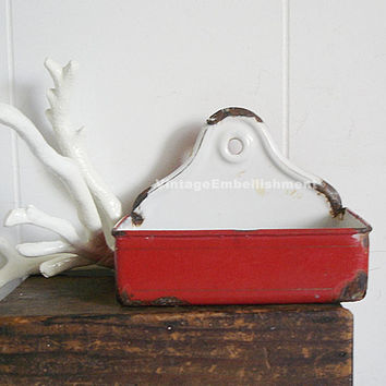 Vintage Red Enamel Soap Dish Red and White Vintage Enamel Soap Dish