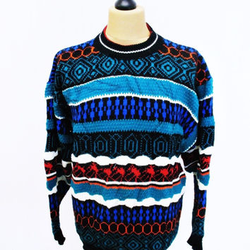 Vintage 1980s Acrylic Psychedelic Pattern Grunge Indie Jumper Sweater Large