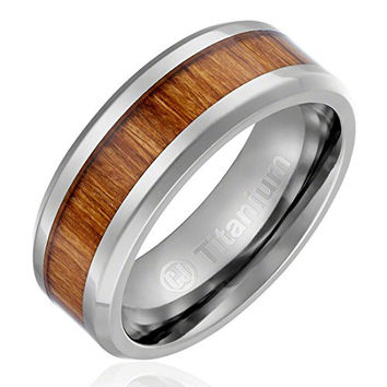 8MM Men's Titanium Ring Wedding Band | Orange Color Wood Inlay | Beveled Edges